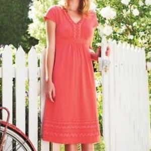 Boden | Pink Cotton Embroidered Empire Dress